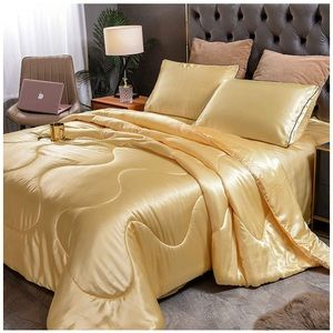 Quilt Satin Silky Bedding Comforter Set 5 Pcs-Gold
